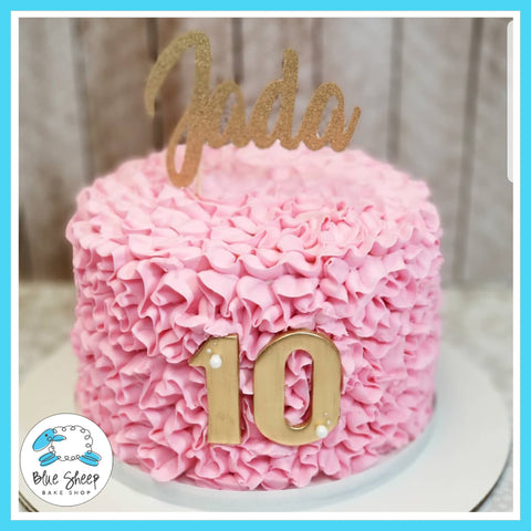Jadas's Pink Ruffle Buttercream Cake - Blue Sheep Bake Shop NJ