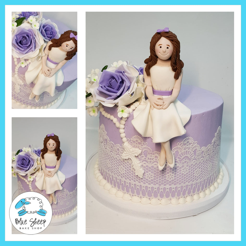 buttercream lace cake with fondant doll and sugar roses nj