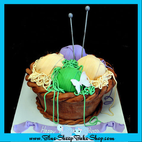 Knitting Basket Sculpted Birthday Cake