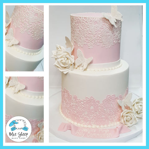 Josslyn's Lace and Butterflies 1st Holy Communion Cake