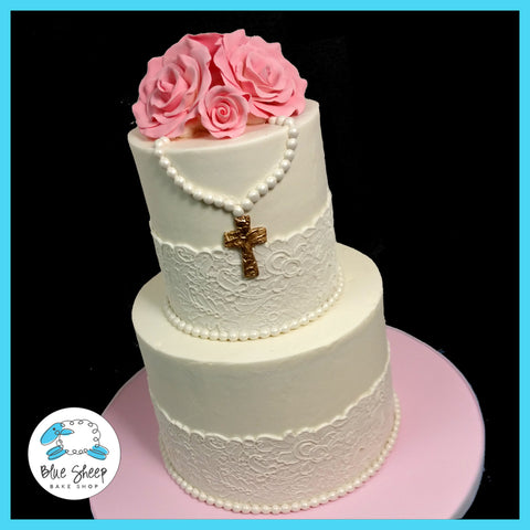 lace and roses first holy communion cake nj