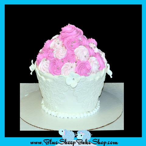 lace and roses giant cupcake cake