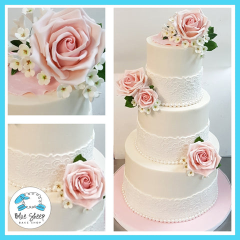 lace and roses wedding cake nj custom cakes