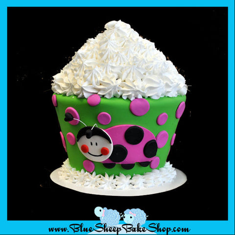 pink lady bug cupcake birthday cake