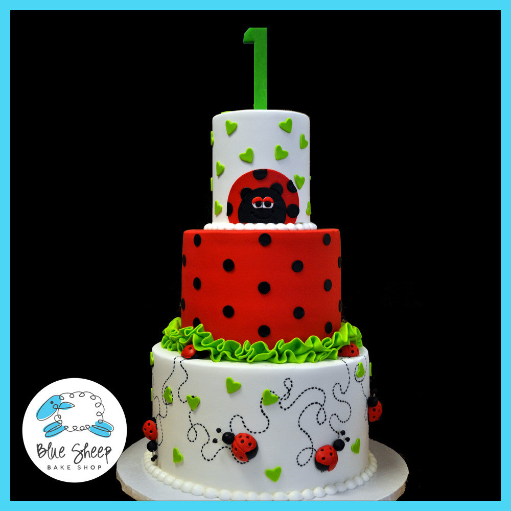 Cool Ladybug 1St Birthday Cake Blue Sheep Bake Shop Funny Birthday Cards Online Alyptdamsfinfo