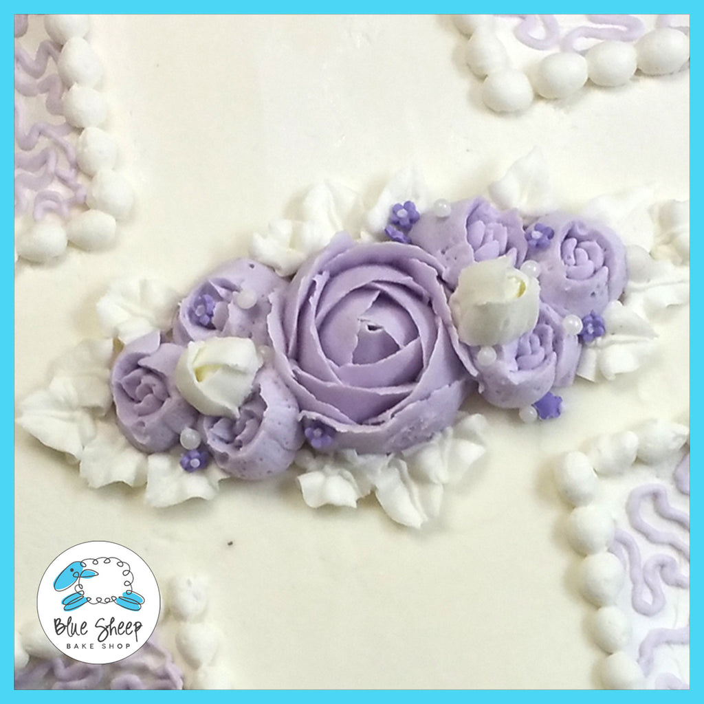 lavender rose christening cake nj