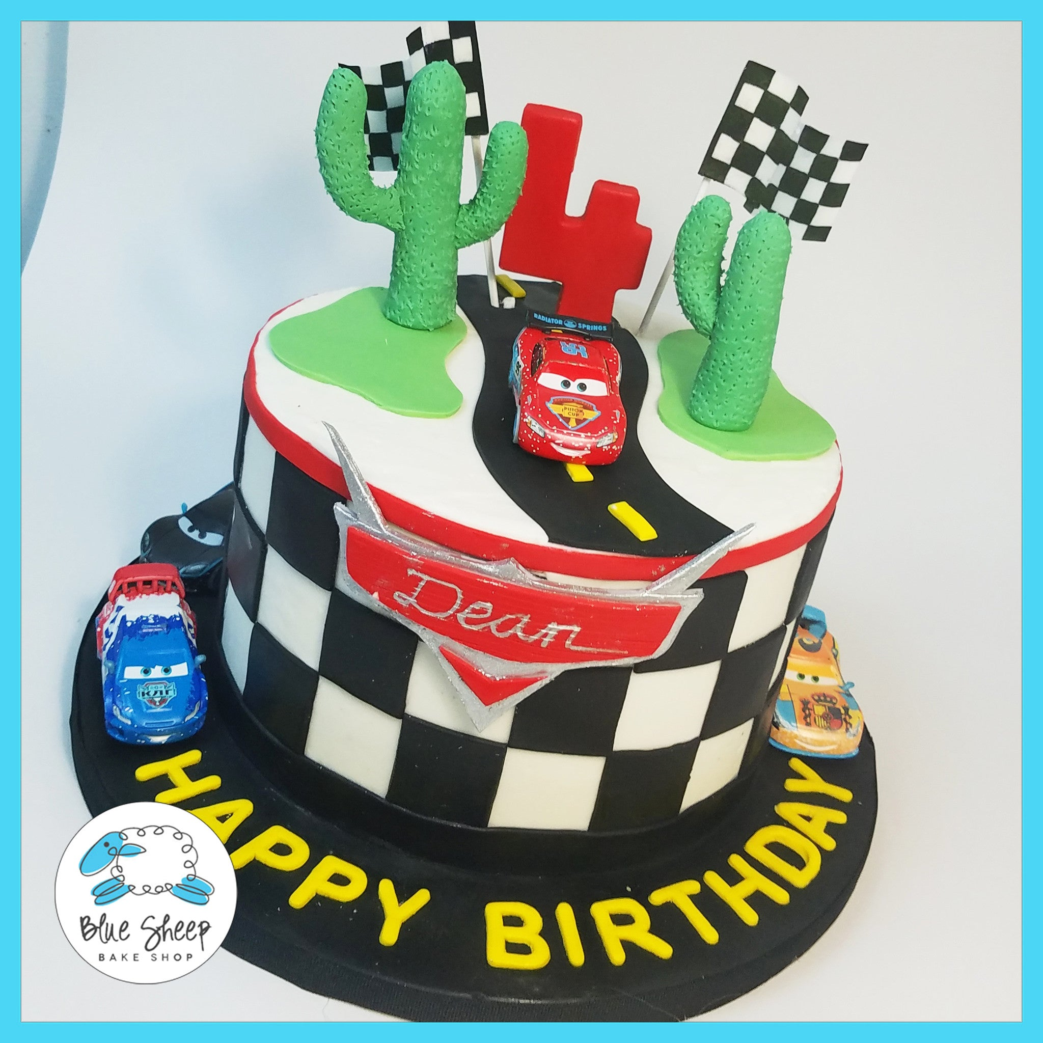 Marvelous Lightning Mcqueen Birthday Cake Blue Sheep Bake Shop Personalised Birthday Cards Veneteletsinfo