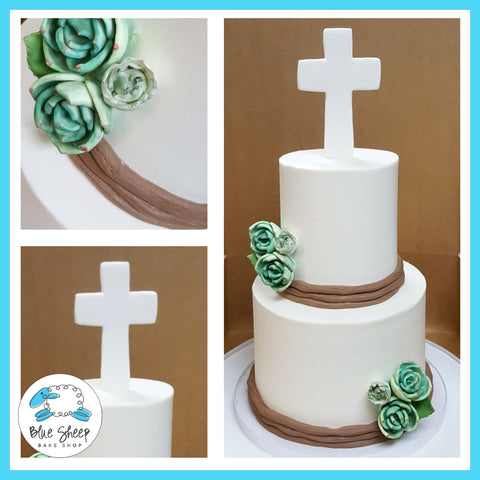1st holy communion cake with succulents