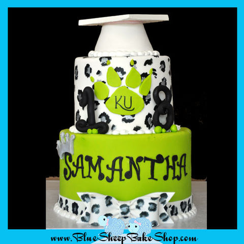 Lime and Leopard Graduation Cake