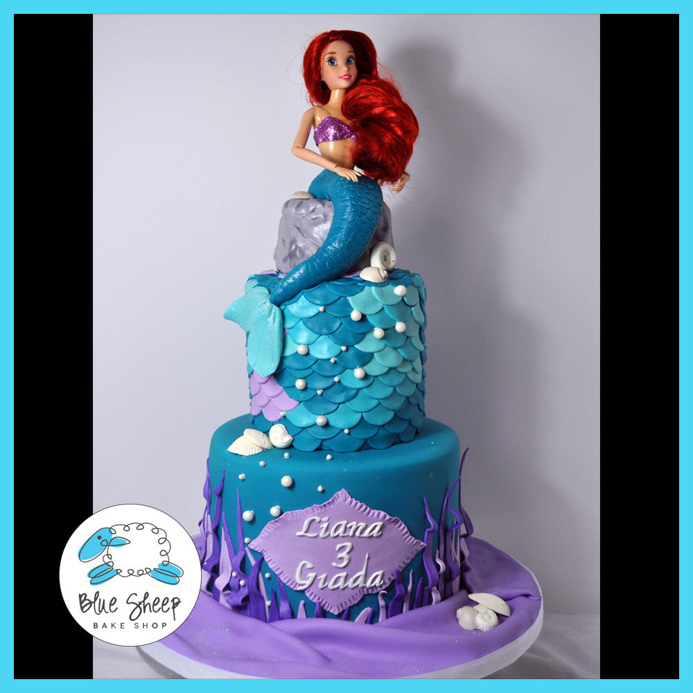 Superb Little Mermaid Birthday Cake Blue Sheep Bake Shop Personalised Birthday Cards Bromeletsinfo