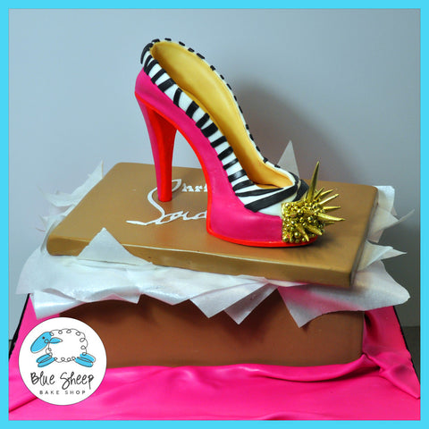 Hot Pink and Gold Spike Shoe & Shoe Box Cake