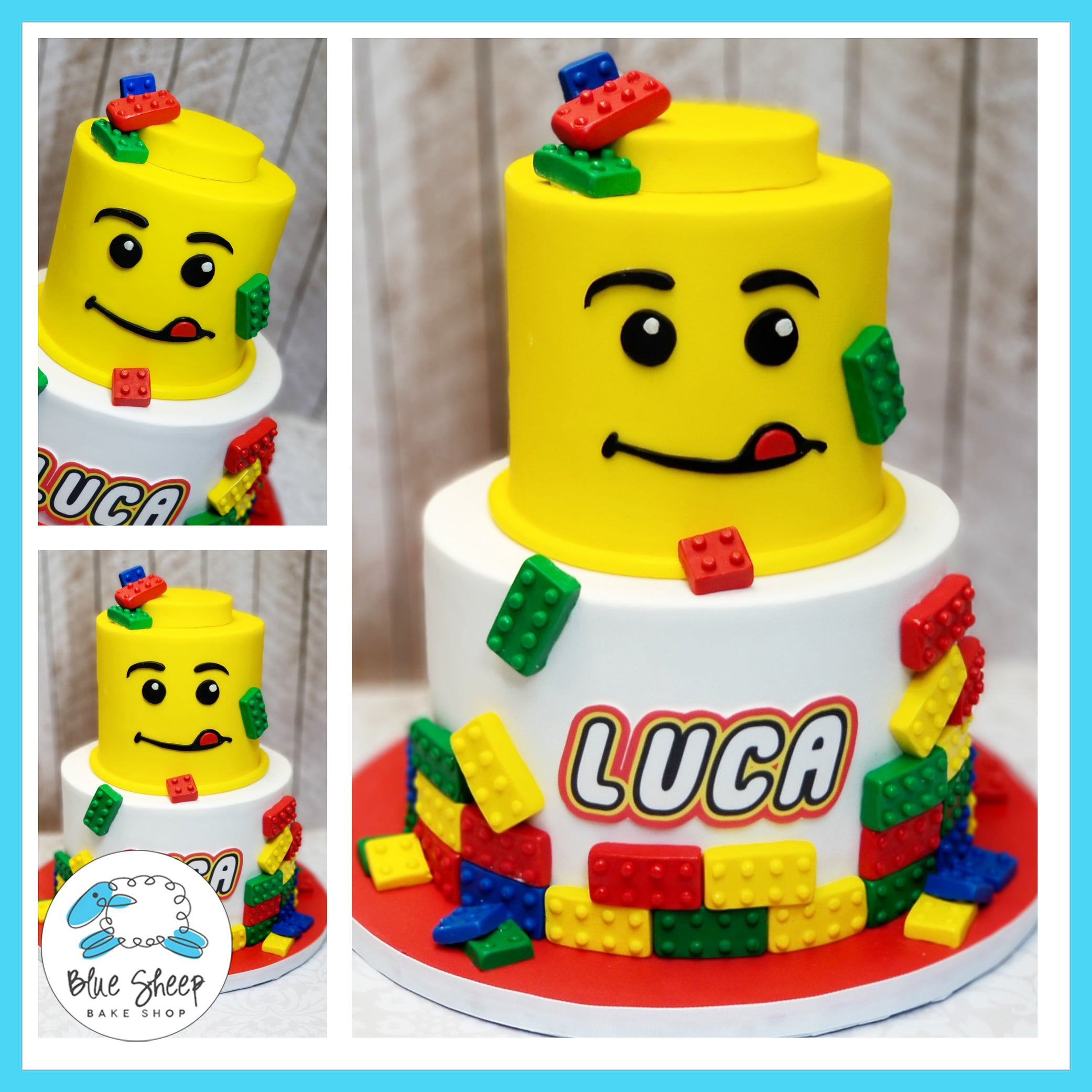 Sensational Lucas Lego Birthdaycake Blue Sheep Bake Shop Funny Birthday Cards Online Sheoxdamsfinfo