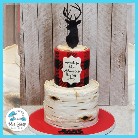Lumberjack Baby Shower Cake - Blue Sheep Bake Shop NJ