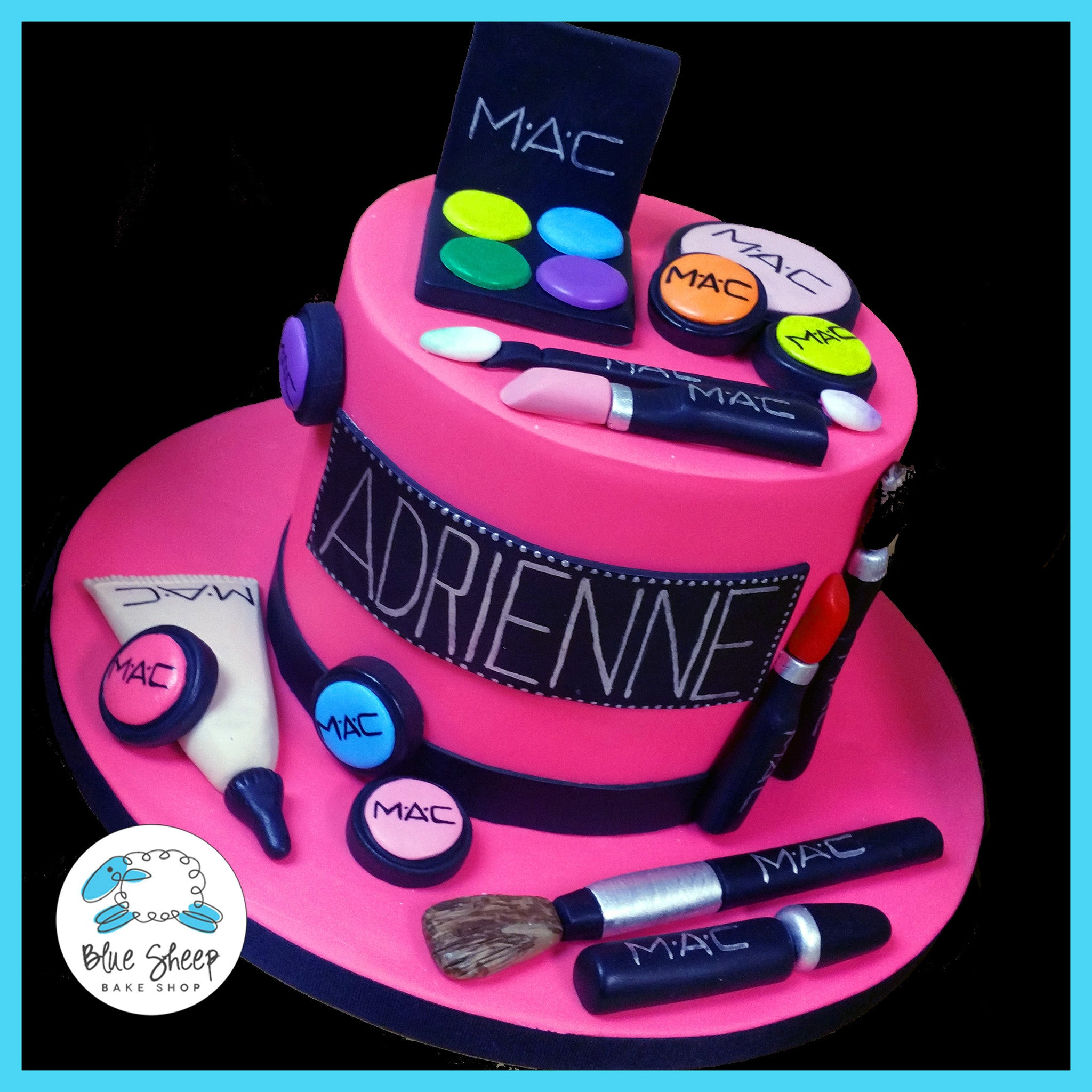 Adriennes MAC Makeup Birthday Cake Blue Sheep Bake Shop