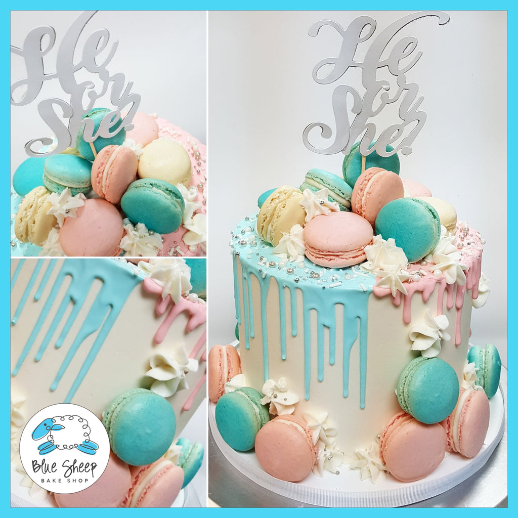 macaron drip cake baby shower gender reveal nj