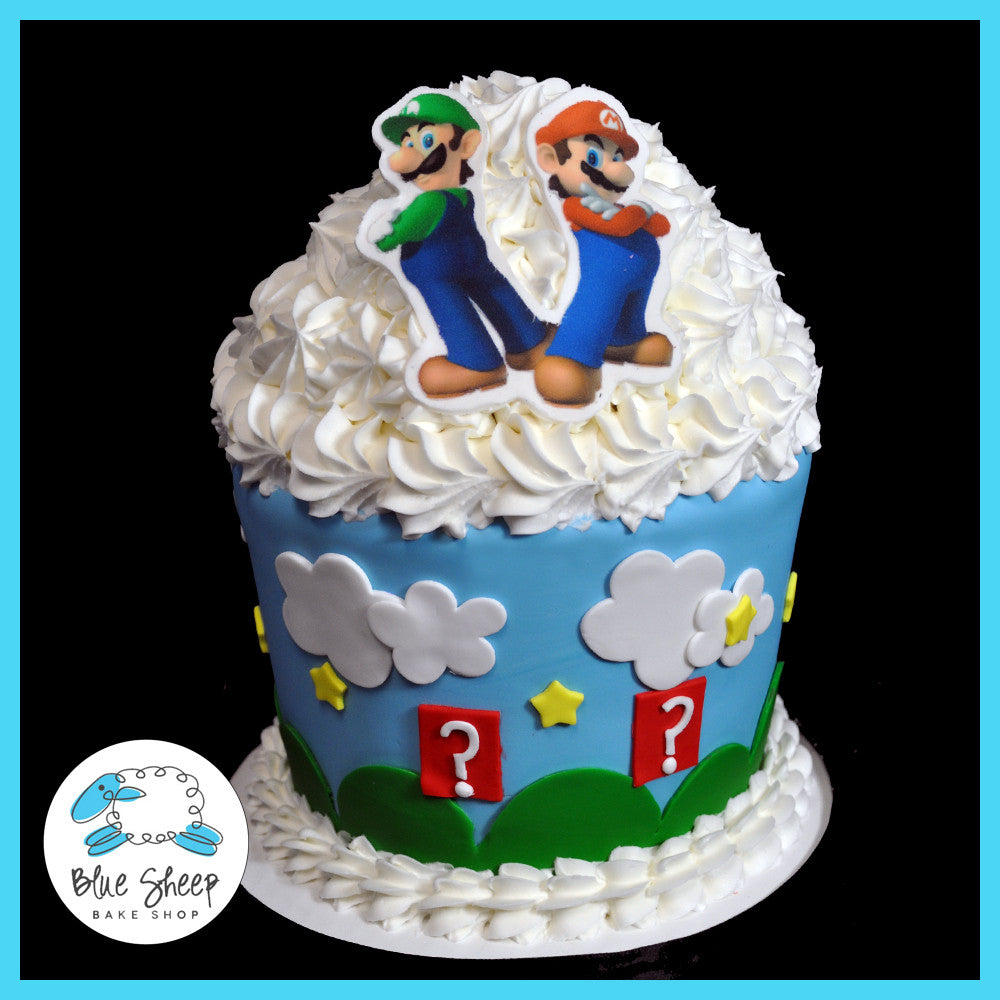 Groovy Mario Brothers Giant Cupcake Birthday Cake Blue Sheep Bake Shop Funny Birthday Cards Online Bapapcheapnameinfo
