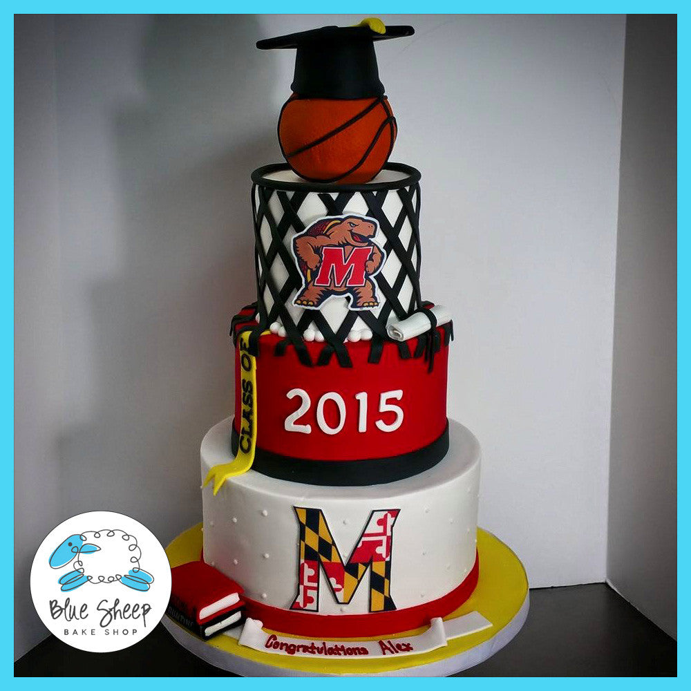 Maryland University Terrapins Graduation Cake Blue Sheep Bake Shop