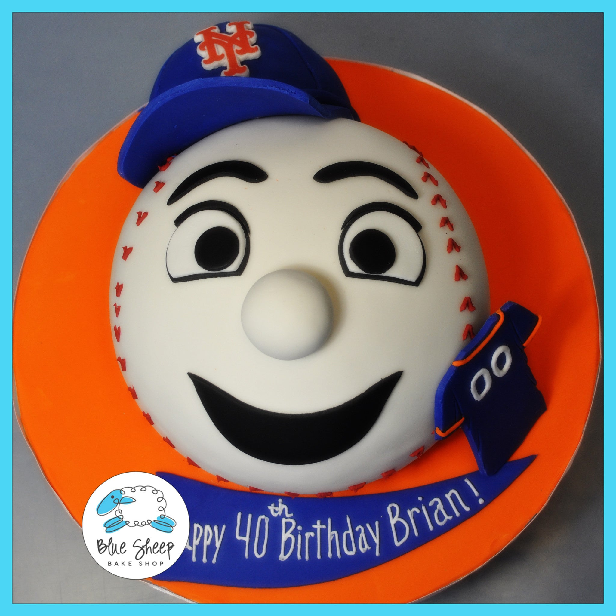 Remarkable Mets Baseball Birthday Cake Blue Sheep Bake Shop Personalised Birthday Cards Epsylily Jamesorg