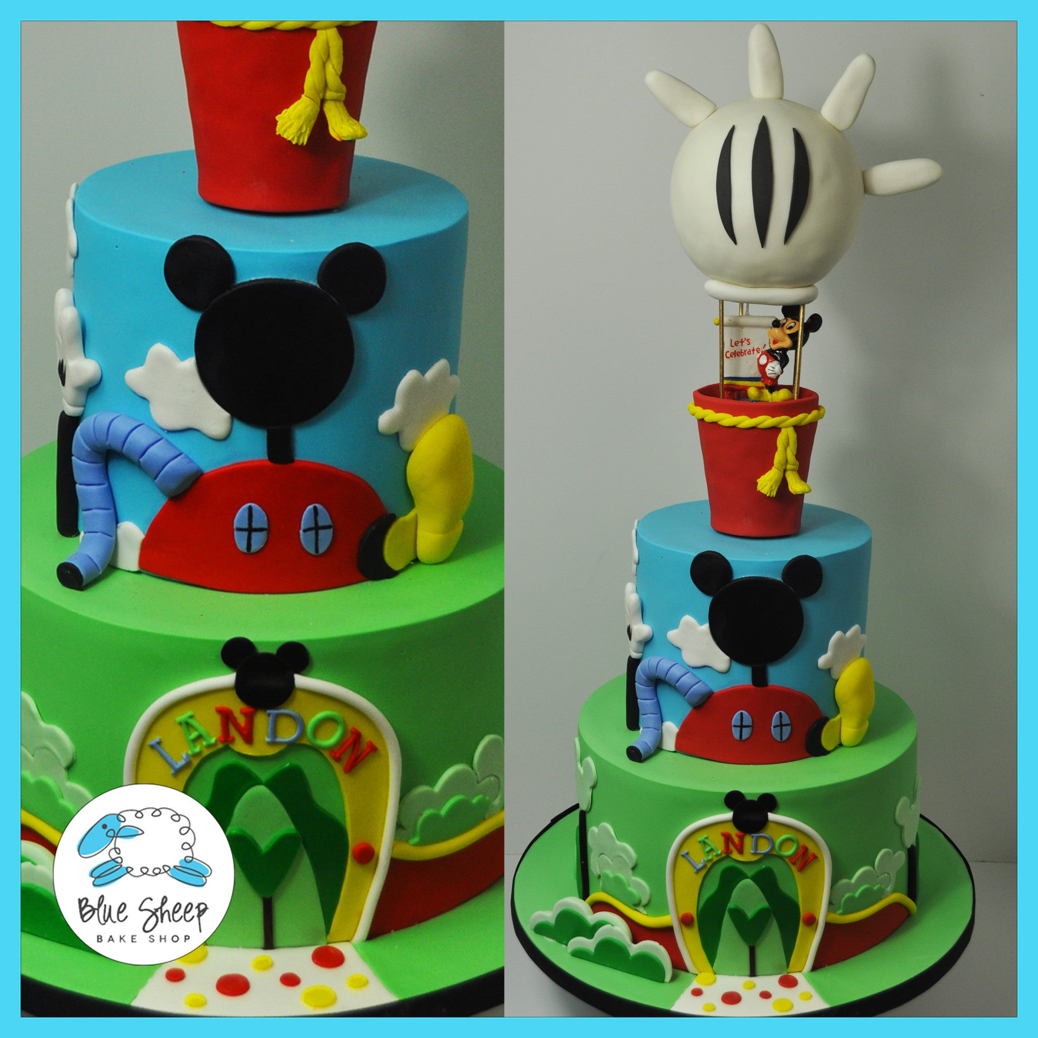 Amazing Landons Mickey Mouse Clubhouse Hot Air Balloon Cake Blue Sheep Funny Birthday Cards Online Fluifree Goldxyz
