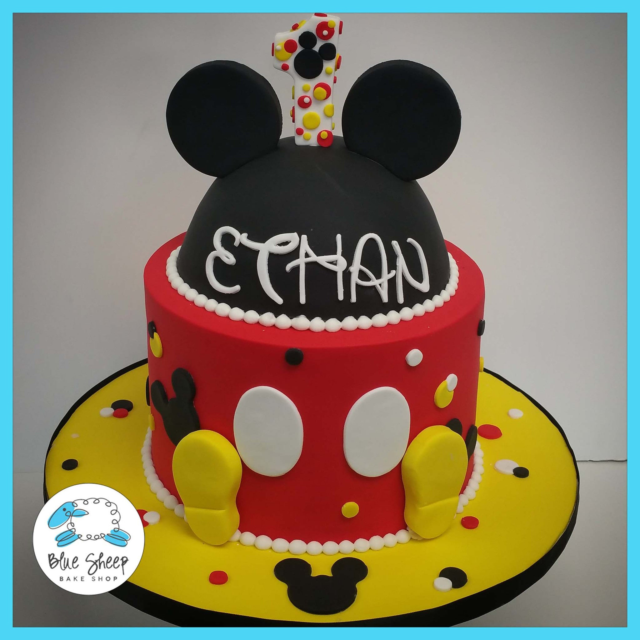 Stupendous Mickey Mouse Inspired Birthday Cake Blue Sheep Bake Shop Funny Birthday Cards Online Fluifree Goldxyz