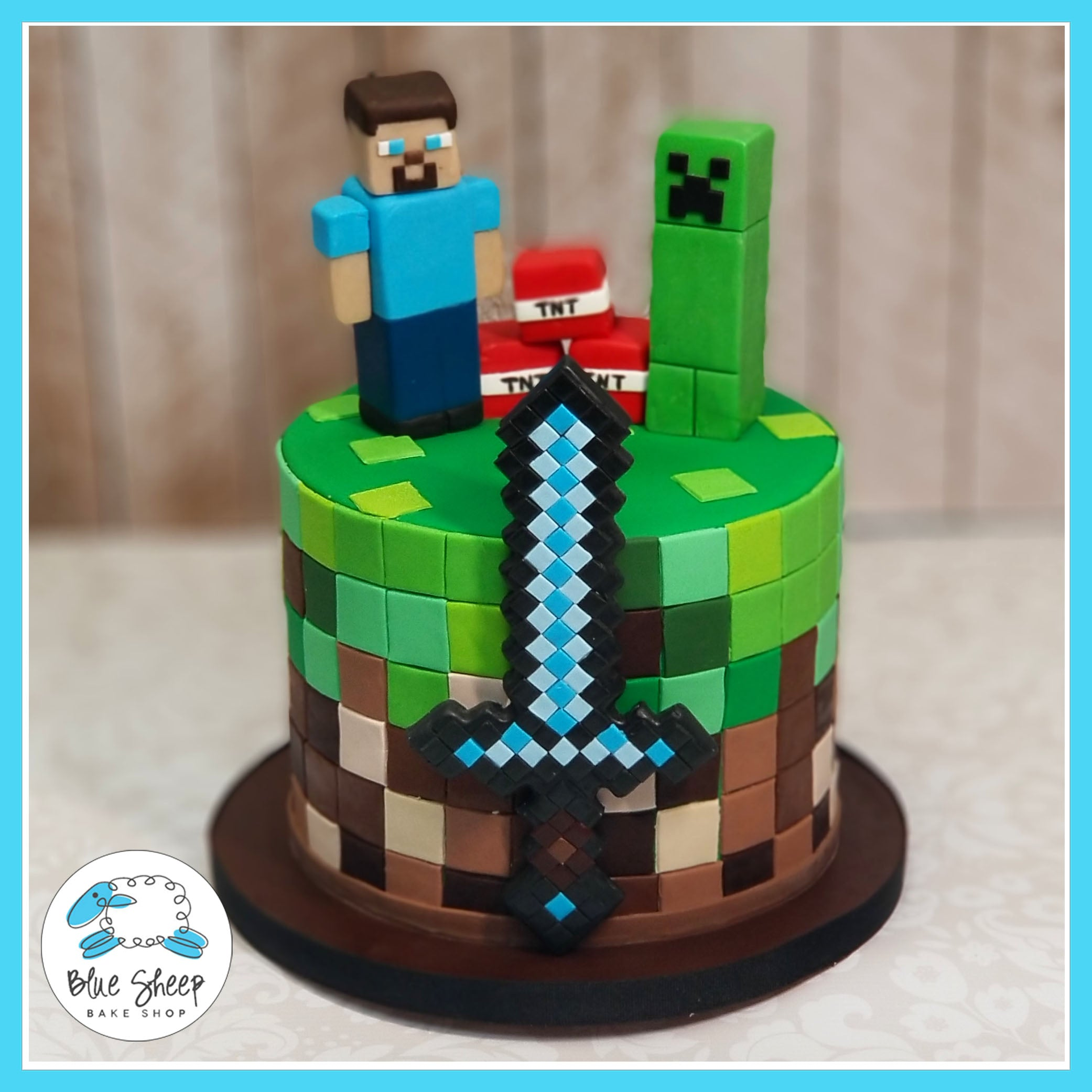 Minecraft Birthday Cake Blue Sheep Bake Shop