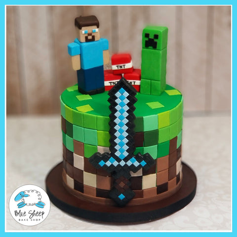 Minecraft Birthday Cake - Blue Sheep Bake Shop NJ