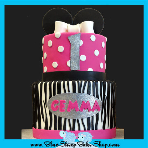 Minnie Mouse 1st Birthday Cake - Zebra Stripes and Polka Dots custom specialty cake NJ