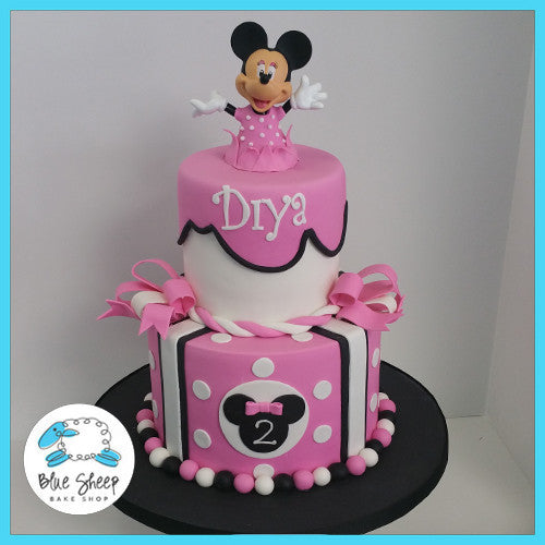 Incredible Minnie Mouse Birthday Cake Blue Sheep Bake Shop Funny Birthday Cards Online Overcheapnameinfo