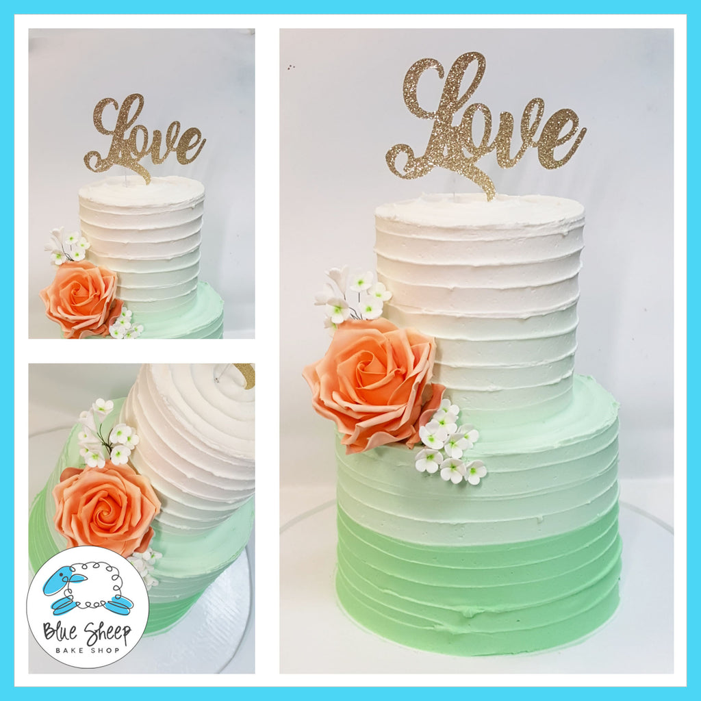 mint ombre buttercream bridal shower cake nj
