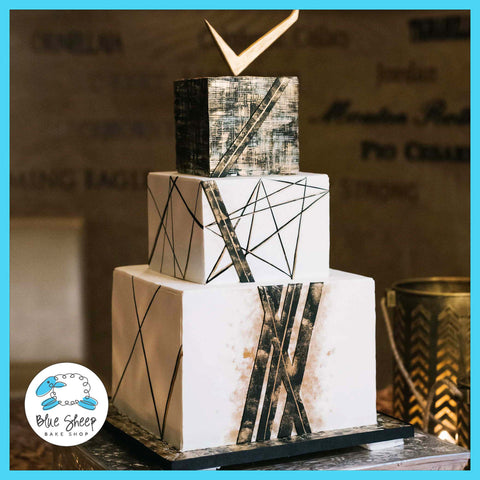 modern metals wedding cake nj