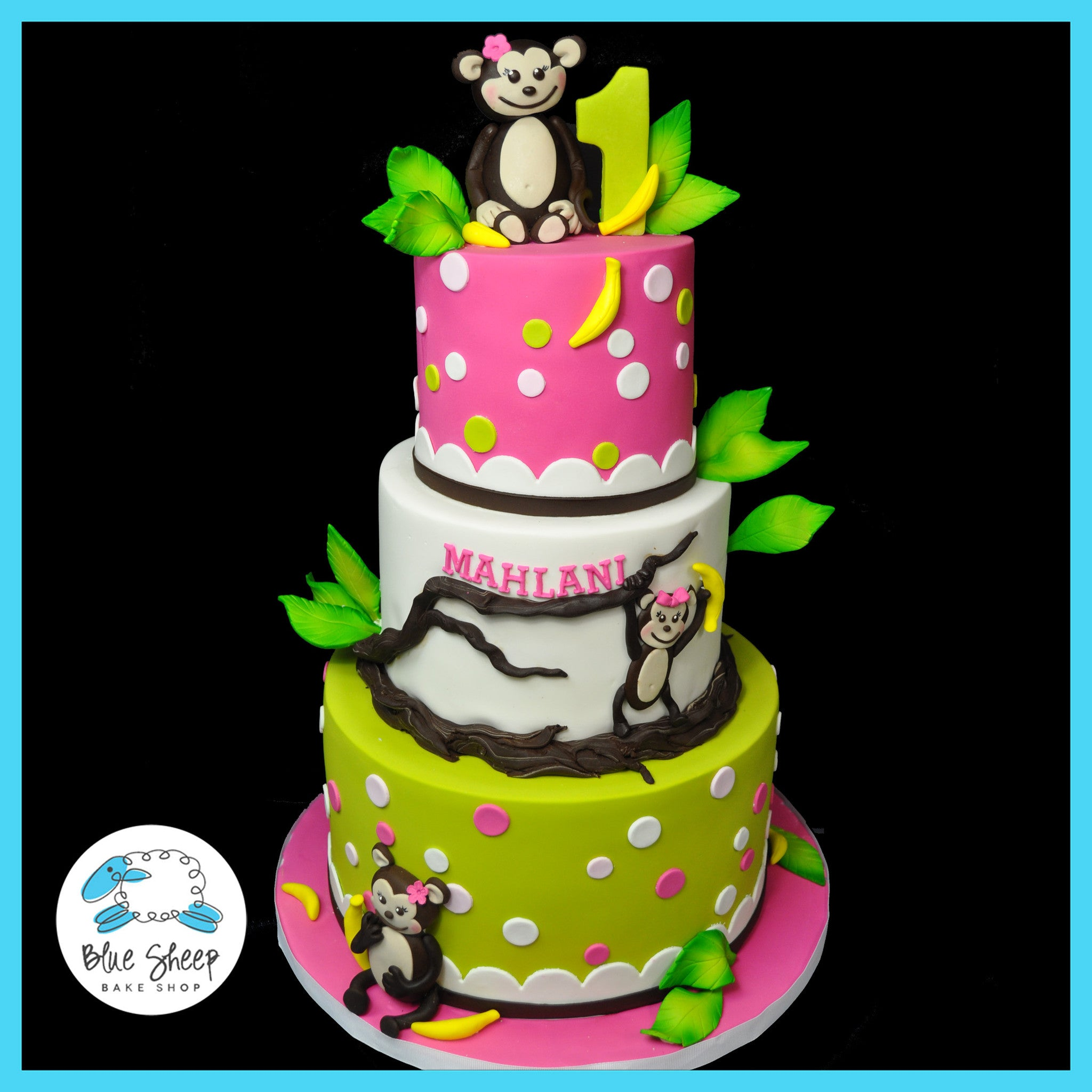 Astounding Mahlanis Jungle Monkey 1St Birthday Cake Blue Sheep Bake Shop Funny Birthday Cards Online Alyptdamsfinfo
