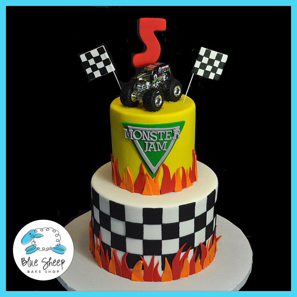 Tremendous Monster Truck Birthday Cake Blue Sheep Bake Shop Funny Birthday Cards Online Elaedamsfinfo