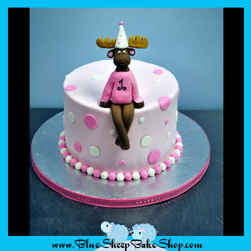 Peachy Pink Moose 1St Birthday Cake Blue Sheep Bake Shop Funny Birthday Cards Online Overcheapnameinfo