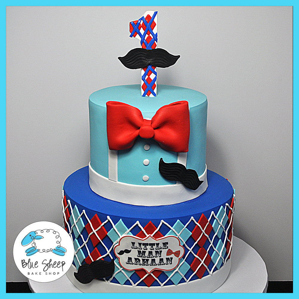 Pleasing Moustache And Bowtie Birthday Cake Blue Sheep Bake Shop Personalised Birthday Cards Veneteletsinfo