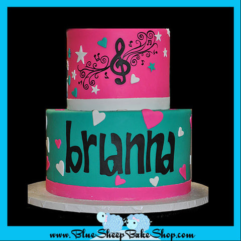 music and hearts sweet 16 custom cake