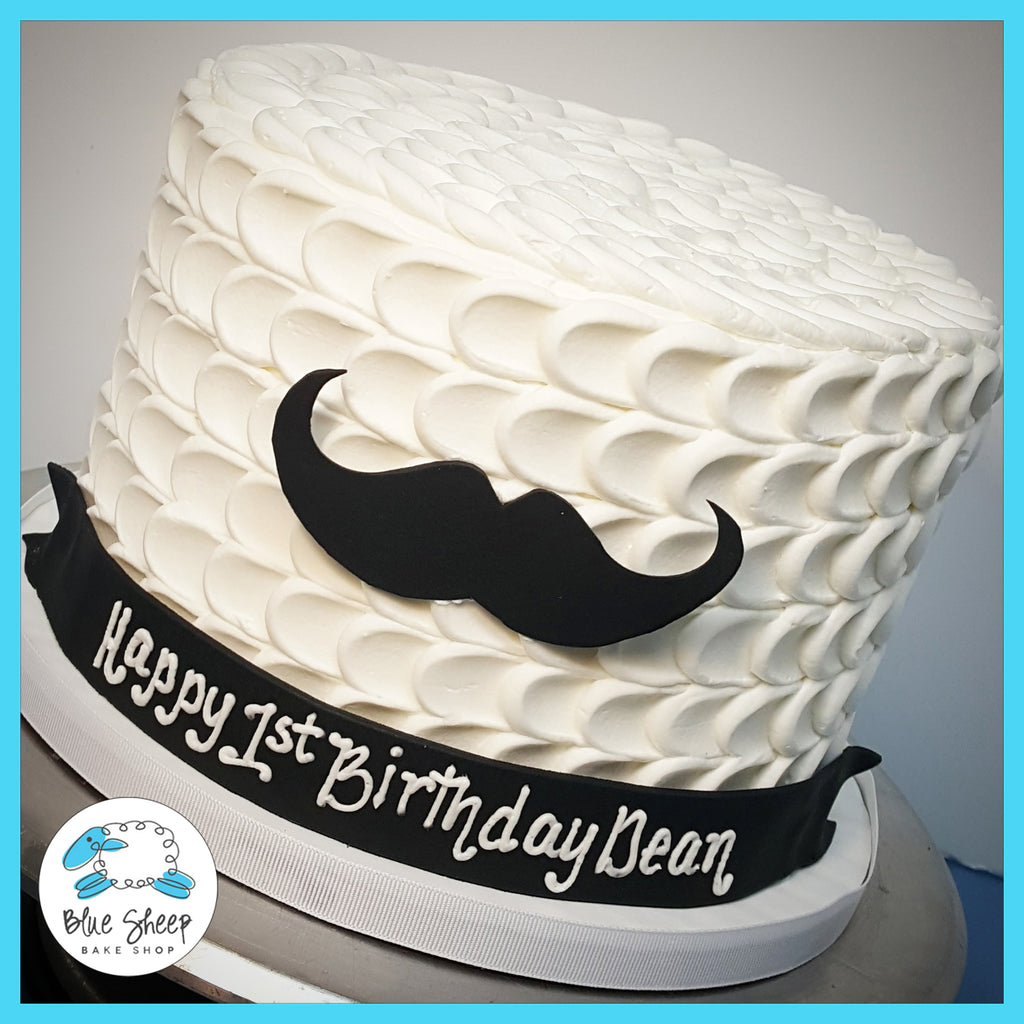 buttercream mustache 1st birthday cake nj