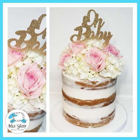 naked baby shower cake with pink roses nj cakes