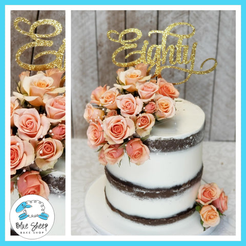Naked Chocolate 80th Birthday Cake - by Blue Sheep Bake Shop