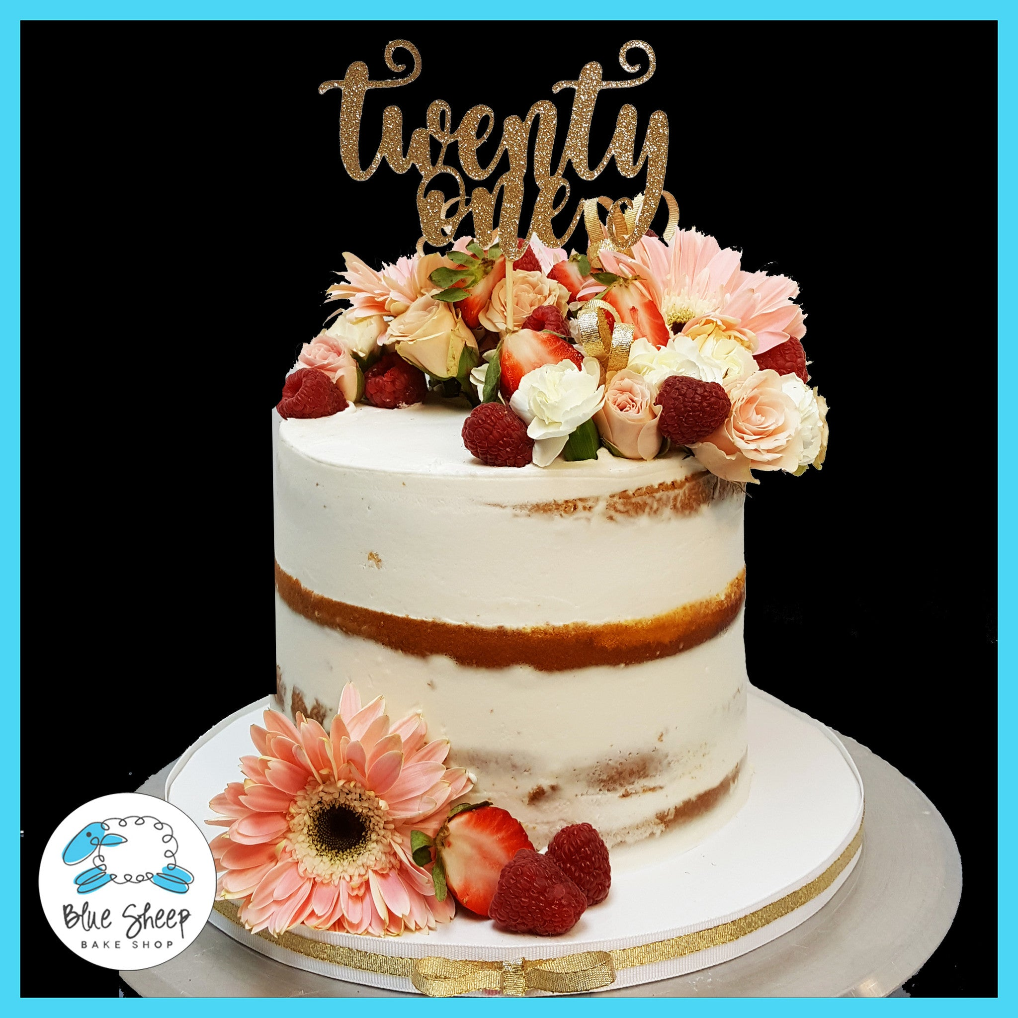 Naked 21St Birthday Cake With Fresh Blooms And Berries-9972