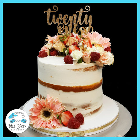 naked cake with flowers and berries nj