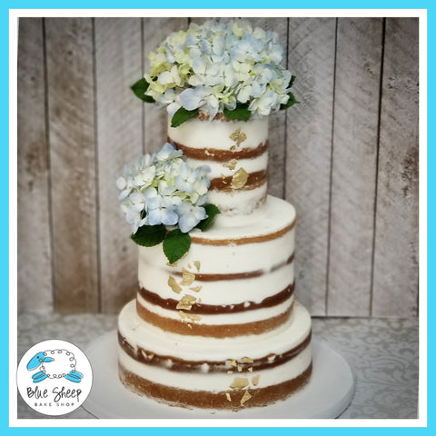 Naked Wedding Cake with Blue Hydrangea