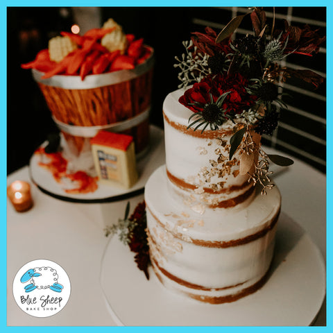 Naked Winter Wedding Cake with Fresh Blooms