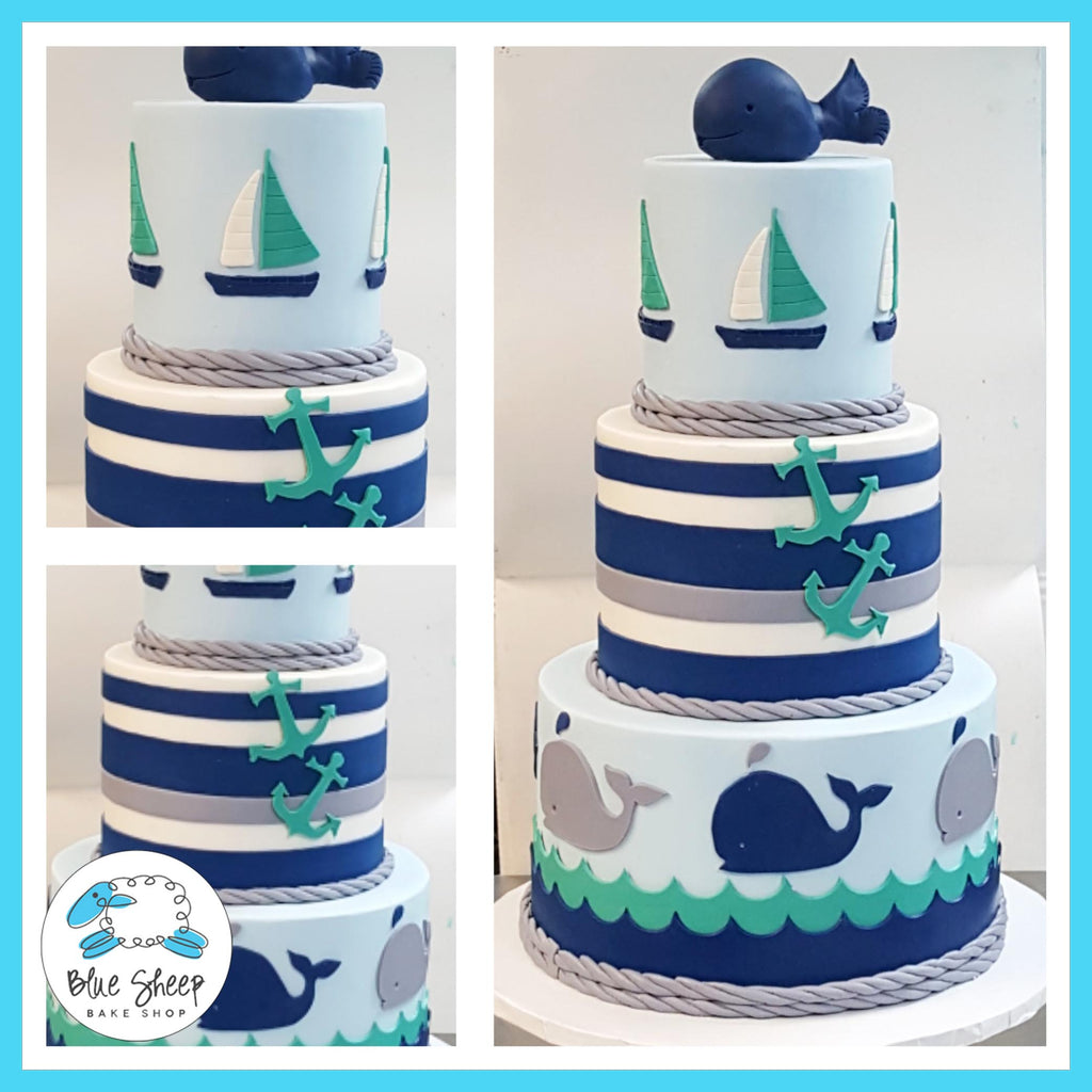 nautical themed whale baby shower cake nj