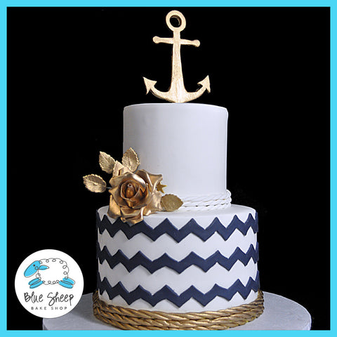 Nautical Gold and Navy Wedding Cake