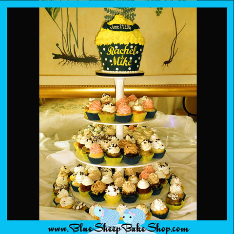 nautical engagement party giant cupcake cake and cupcake tower