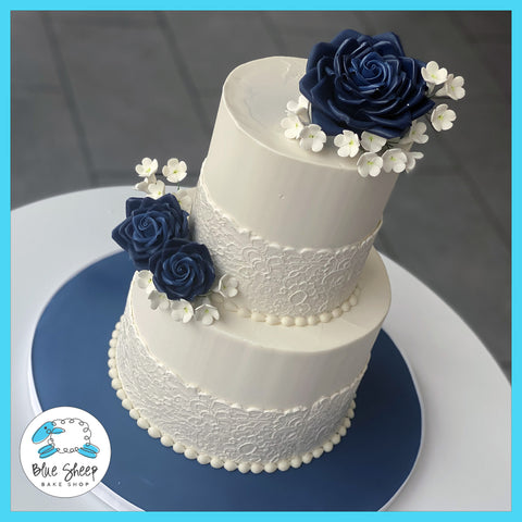 buttercream wedding cakes nj navy sugar roses and lace