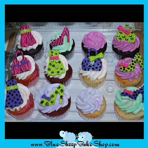 Brightly Colored Fashion Cupcakes