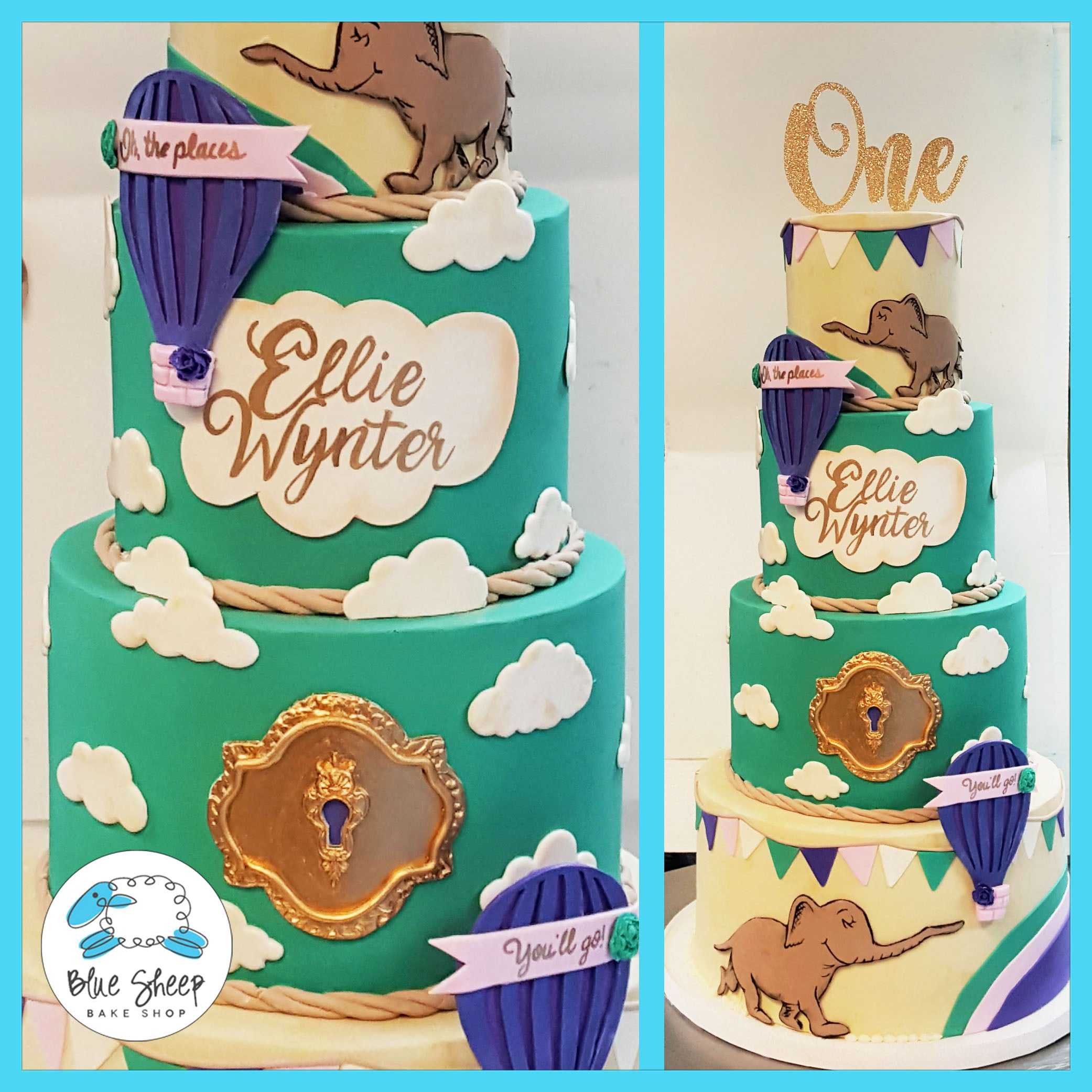 Phenomenal Oh The Places Youll Go Birthday Cake Blue Sheep Bake Shop Personalised Birthday Cards Veneteletsinfo