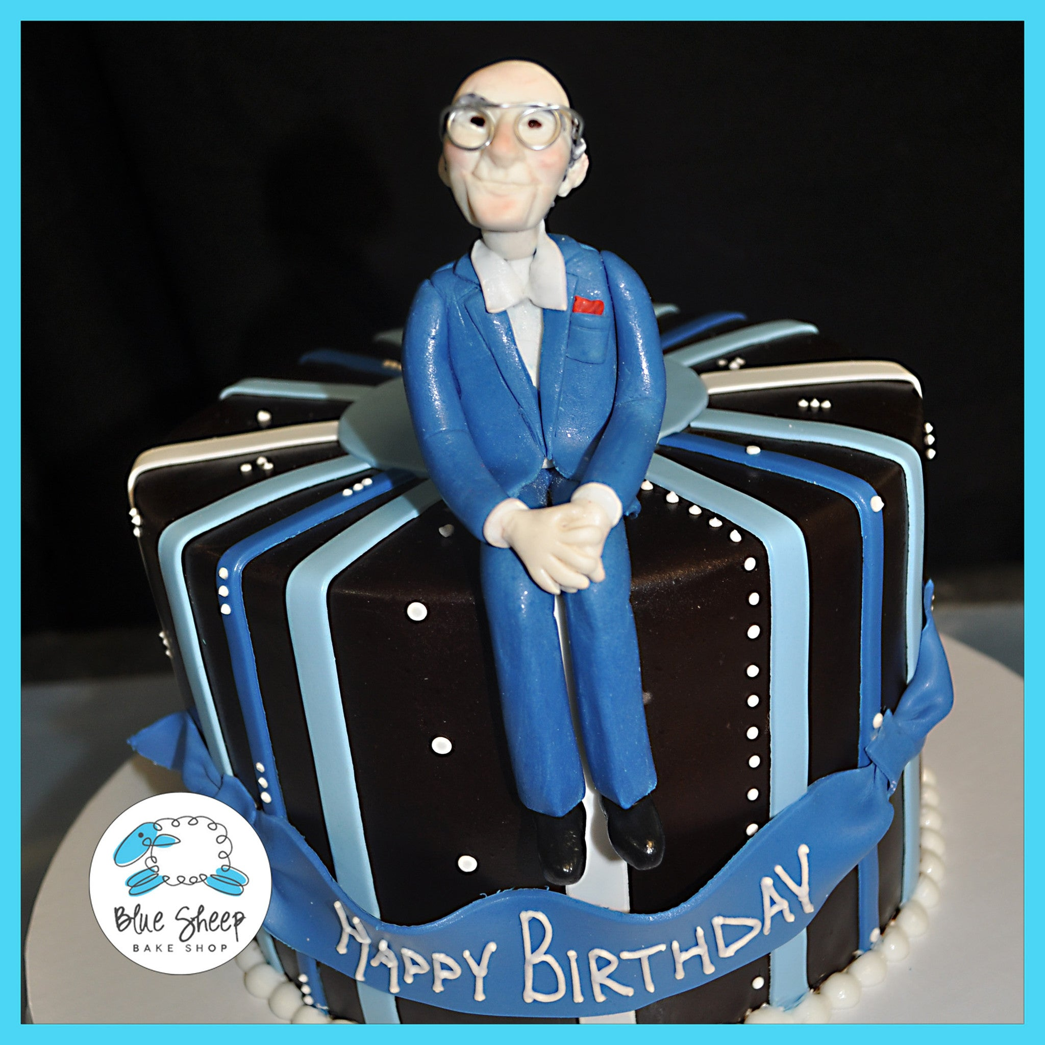 Brown Blue Birthday Cake With Figure Topper Blue Sheep Bake Shop