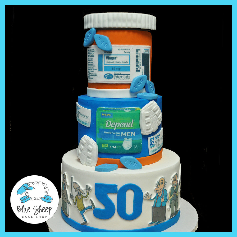 Pleasant Over The Hill Cake 50Th Birthday Cake Blue Sheep Bake Shop Personalised Birthday Cards Veneteletsinfo